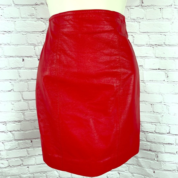 d7415779a180 Wilsons Leather Skirts | Red Authentic Leather Sexy Chic Pencil ...